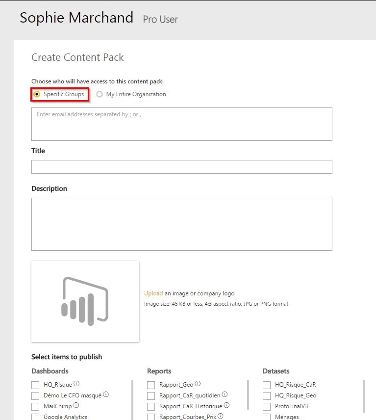 Partage content packs Power BI