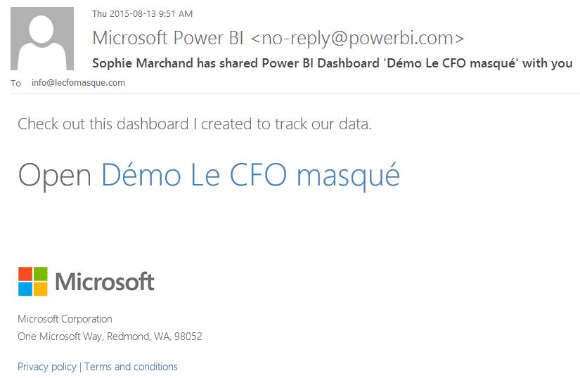 Share Dashboard courriel