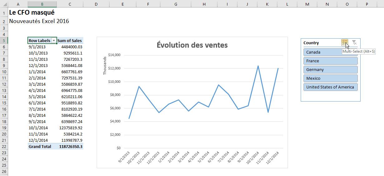 Excel 2016 Segments Multi-Select