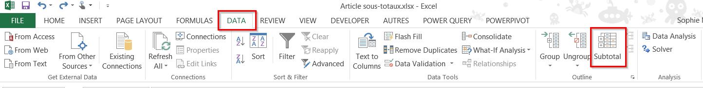 Excel sous-totaux