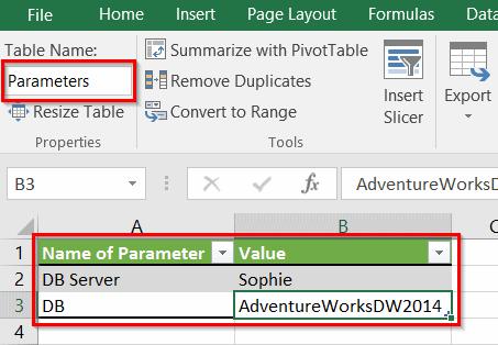Power Query - Table de paramètres