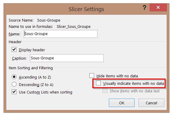 Indiquer les items sans données