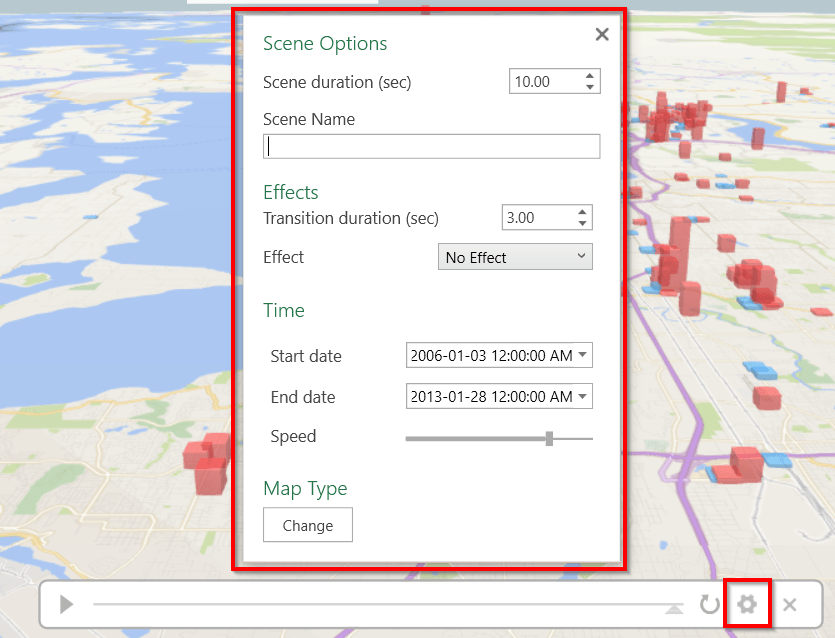 3D maps timeline options