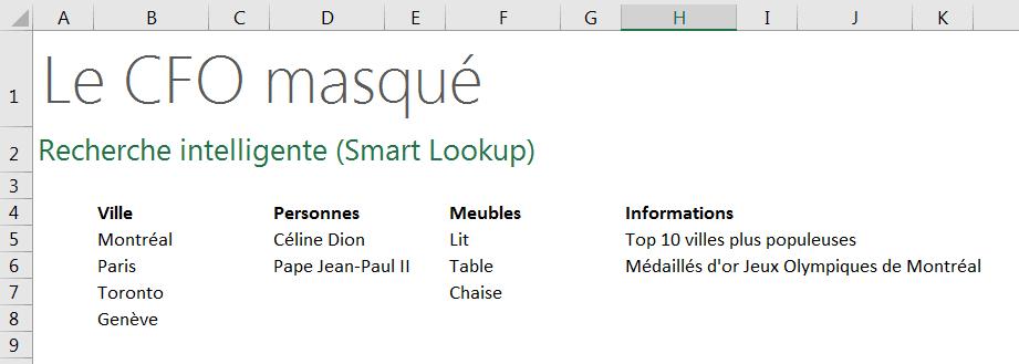 Recherche intelligente Listes