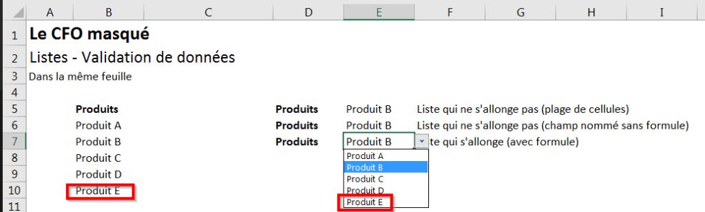 Liste s'allonge avec formule 2