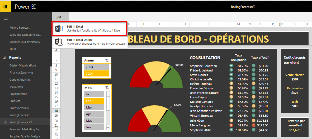 Power BI Excel Dashboard