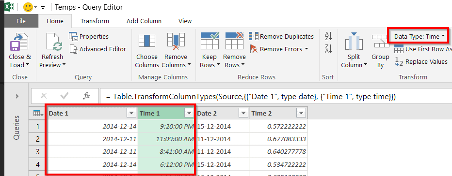 Power Query Dates et temps