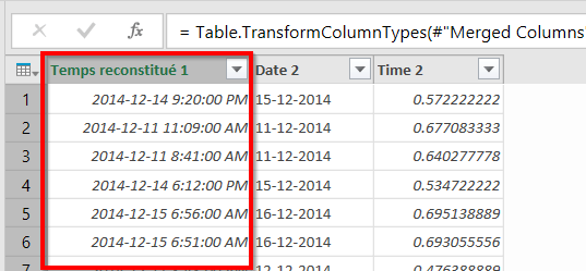 Power Query temps reconstitué