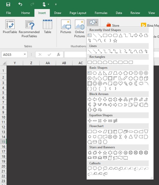 Formes dans Excel