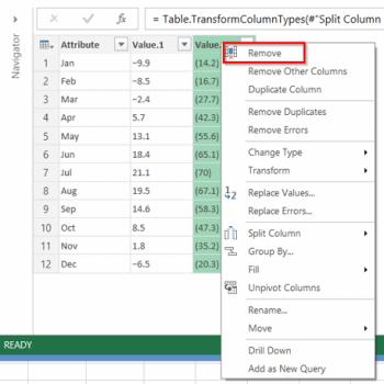 Power Query - Supprimer une colonne menu de droite