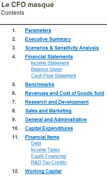 Modèle financier table des matières