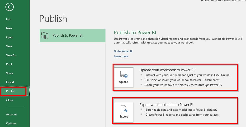 Publier un fichier Excel dans Power BI
