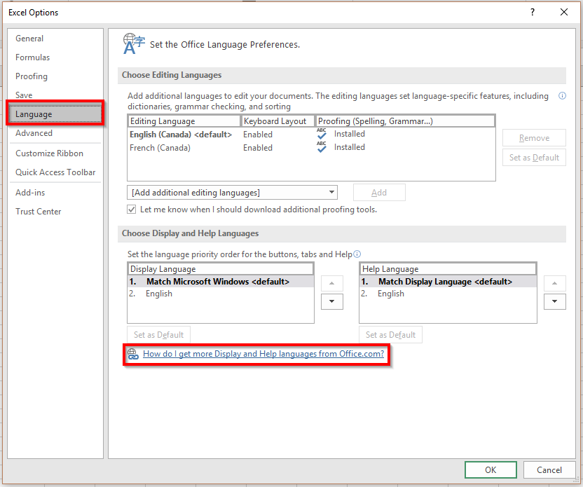 Ajouter des langues dans Excel