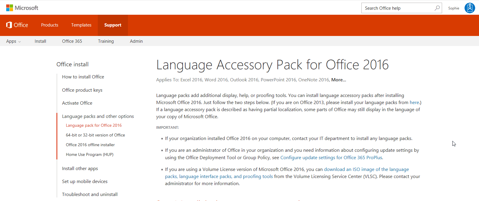 Language pack for Excel