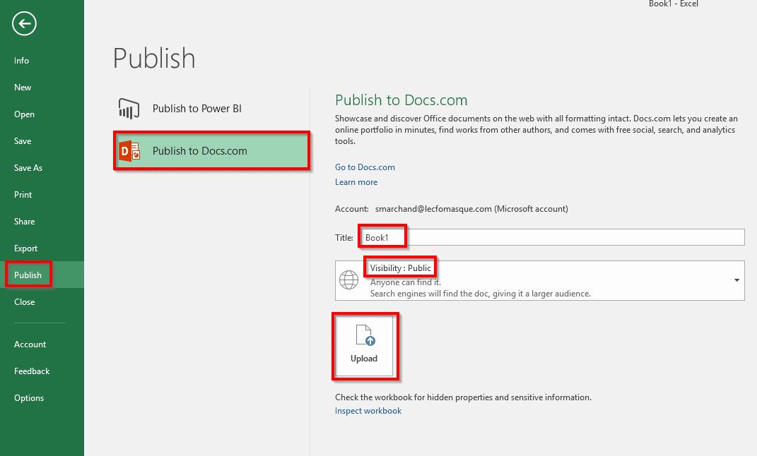 Publier un fichier Excel dans Docs.com