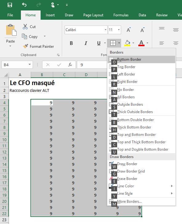 Raccourcis clavier ALT
