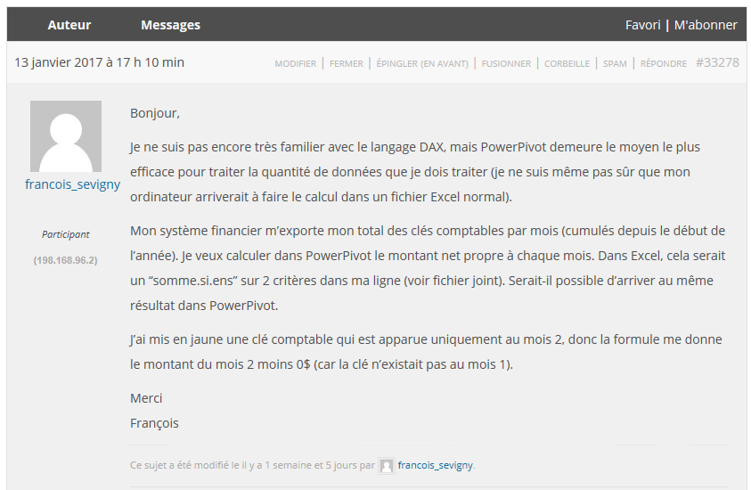 Question forum François