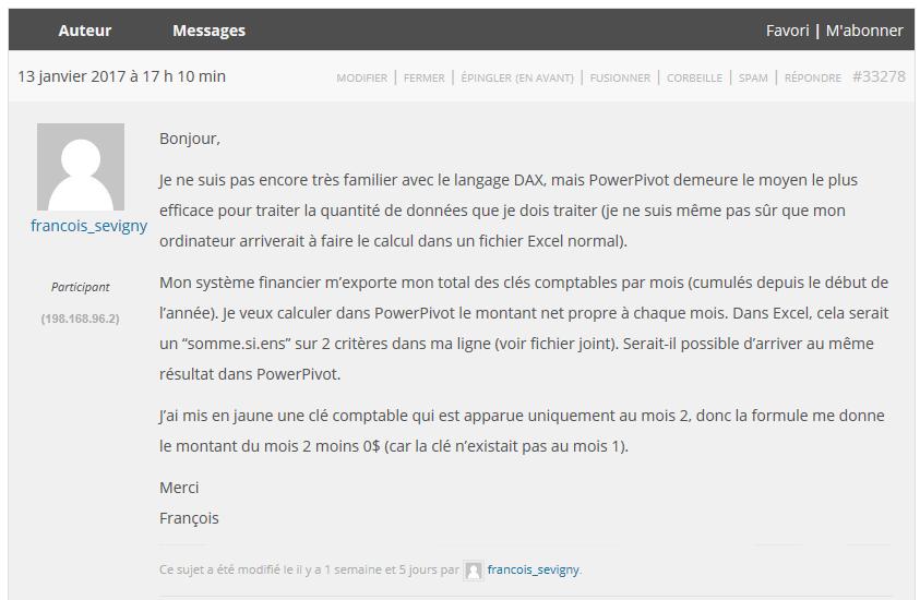 Question forum François