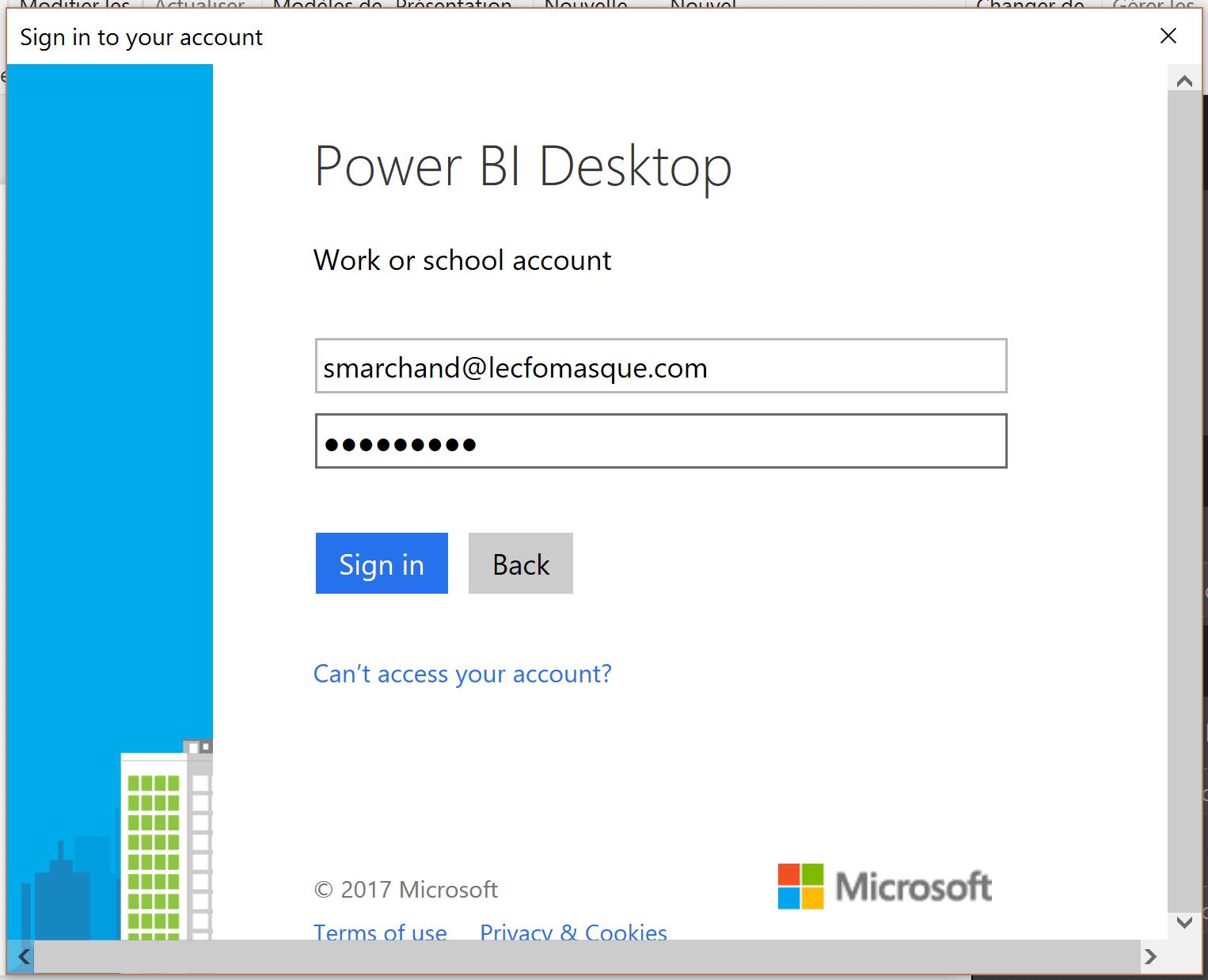 Power BI Desktop connexion