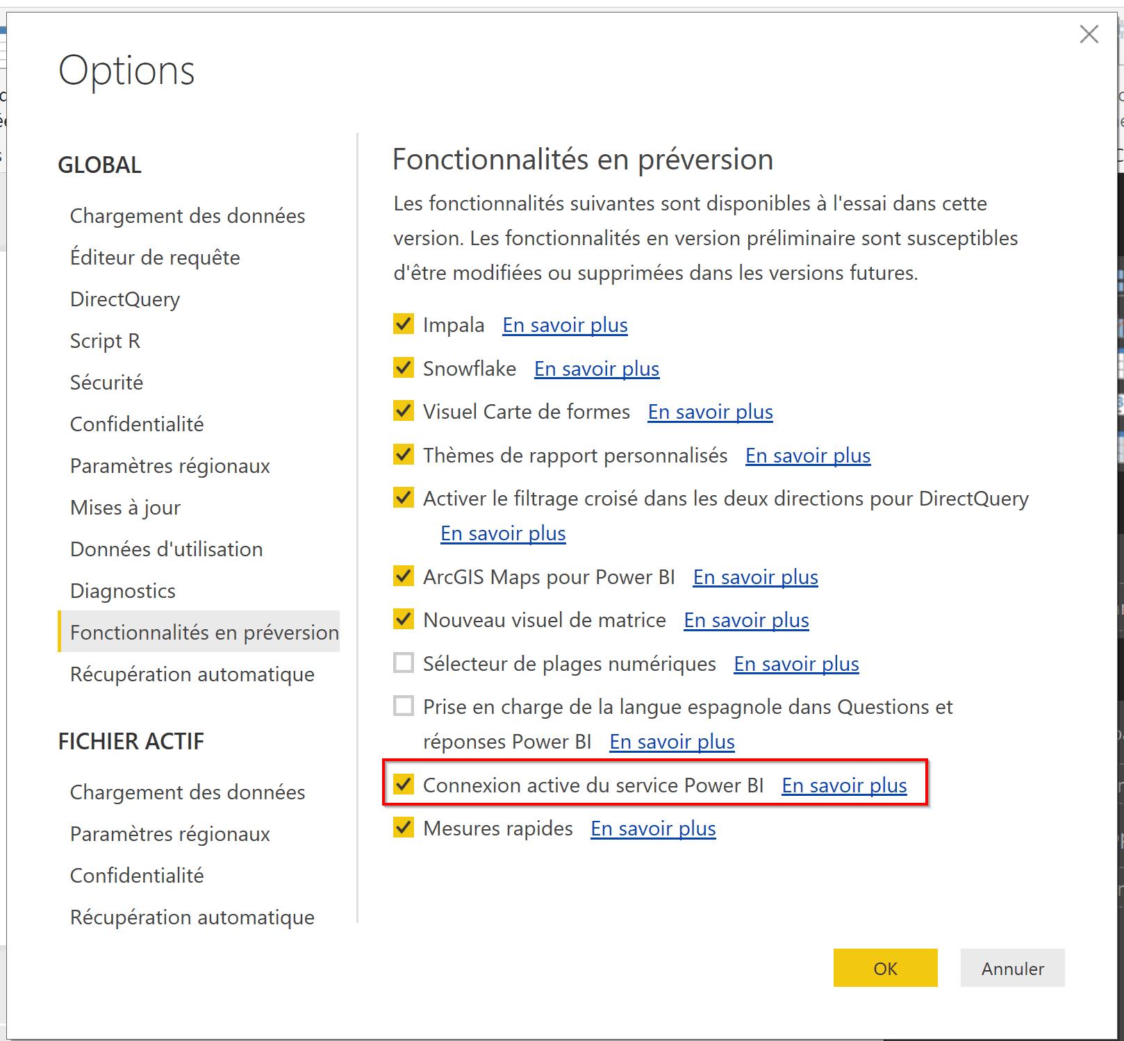 Power BI Desktop option préversion