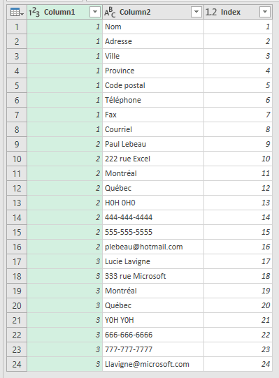 Power Query Table plus Index