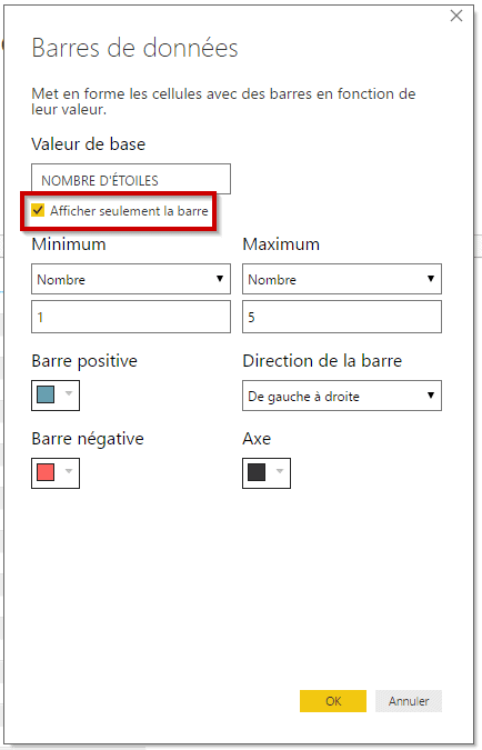 Options barres de données