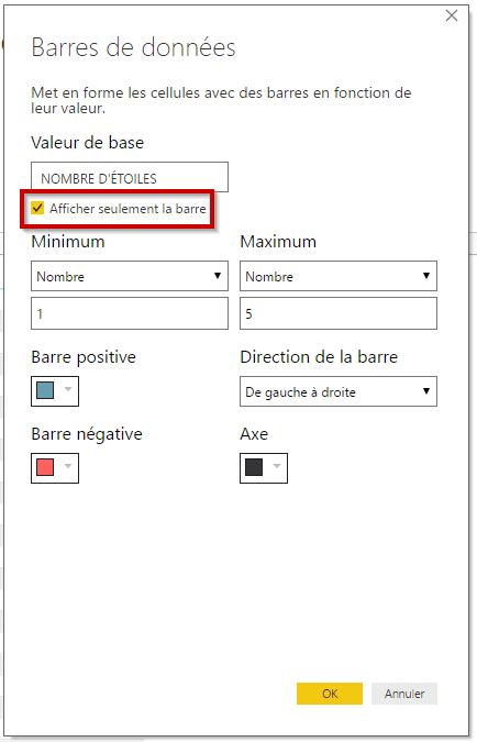 Options barres de données