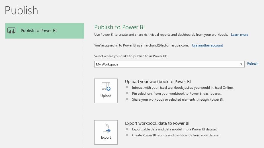 Publier Excel 2016 dans Power BI