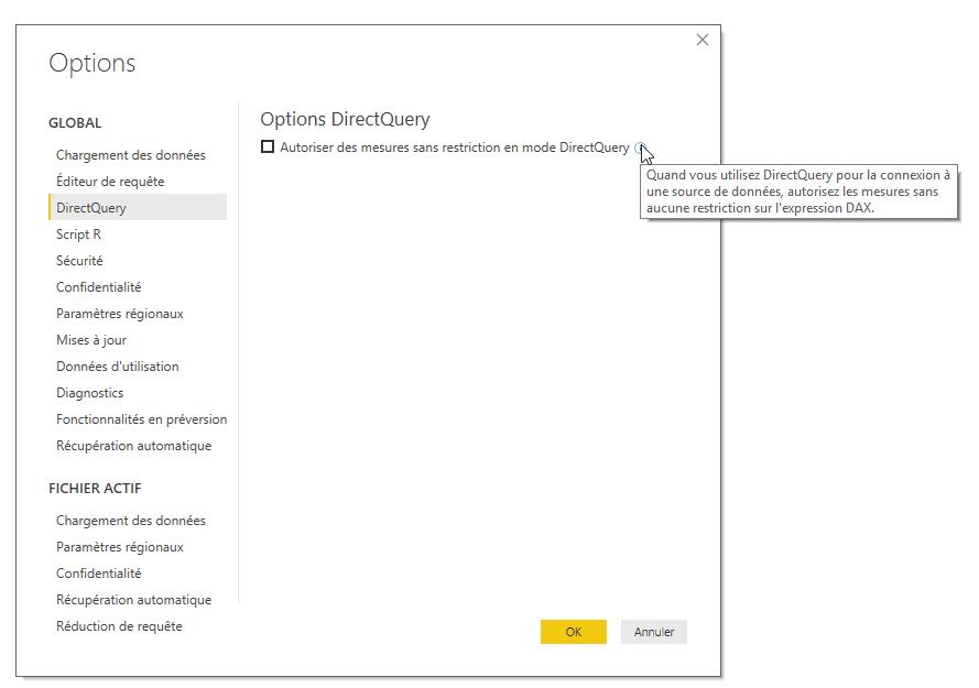 DirectQuery Options avancées