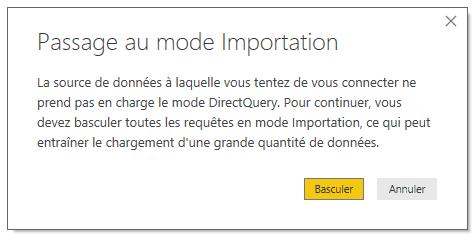 Passage au mode importation