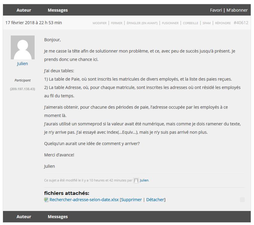 Question Julien Forum
