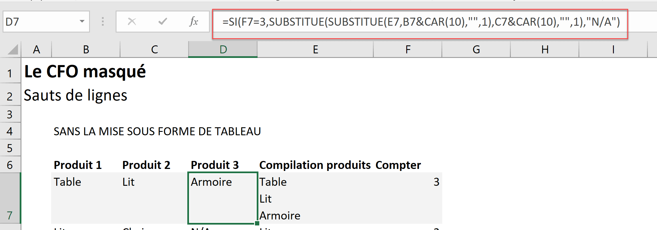 Excel Comment Composer Avec Les Sauts De Lignes Le Cfo Masque