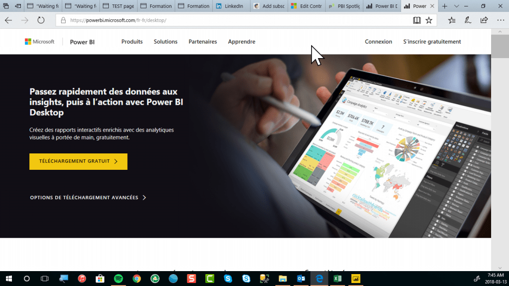 Power BI Desktop via téléchargements