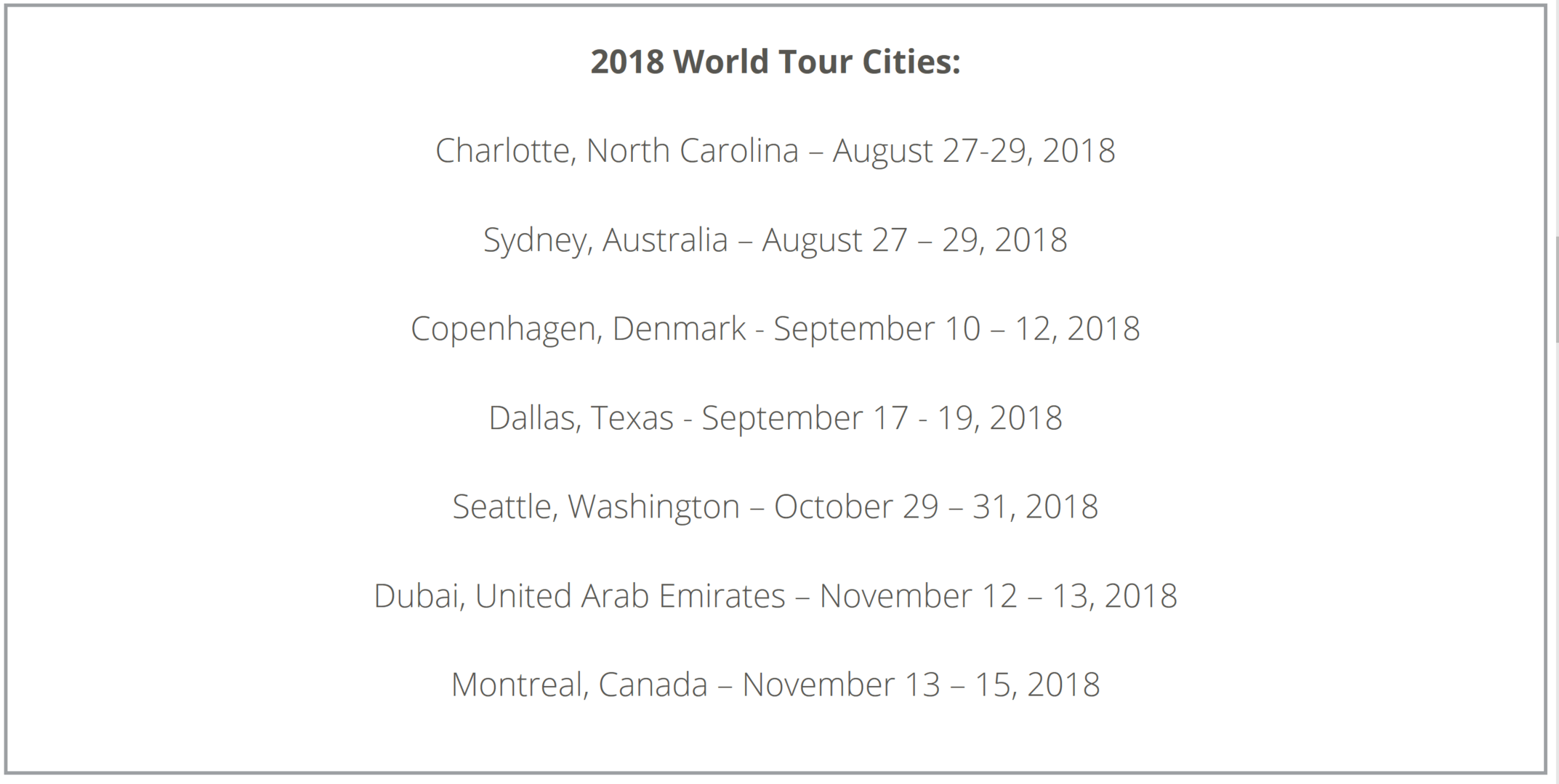 PBI World Tour 2018