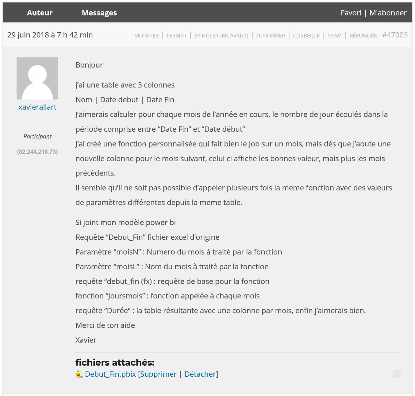 Question forum nb jours