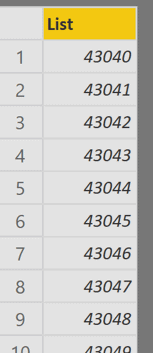 Liste dates en nombres