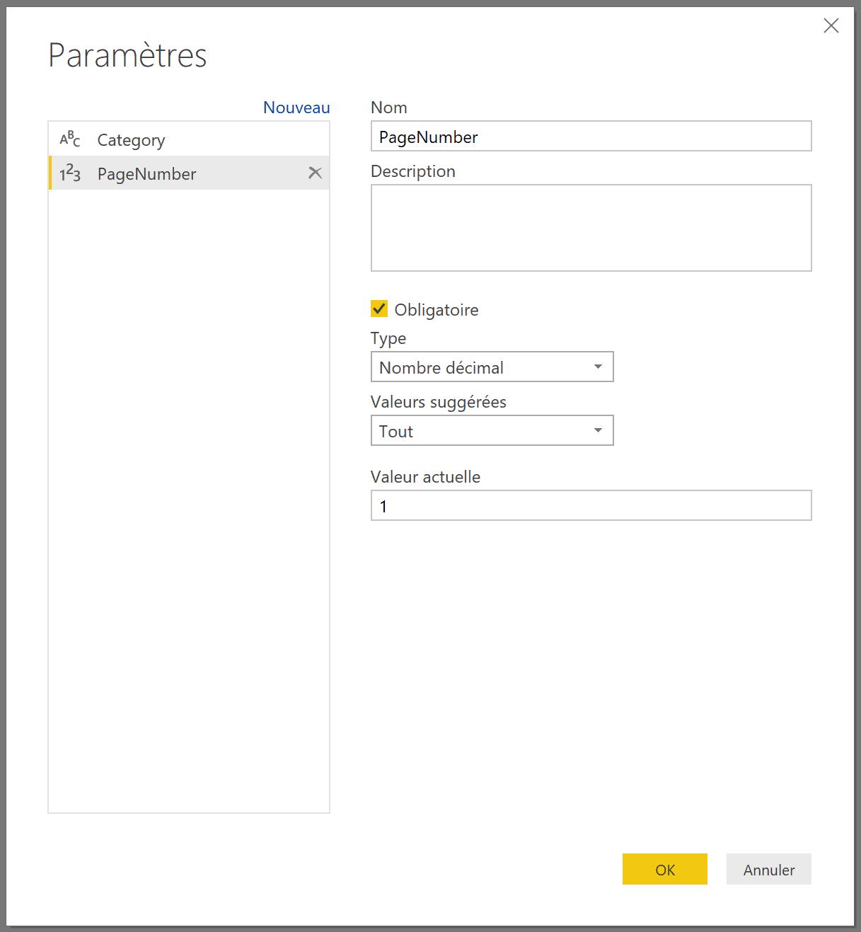 Paramètre Page Number