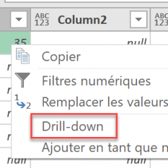 Power Query Drill Down