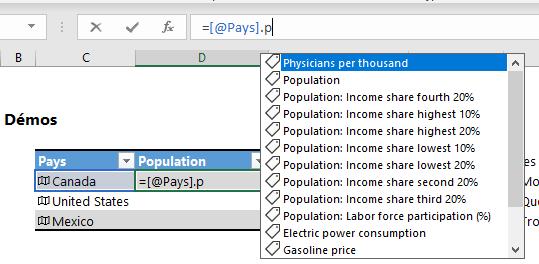 Fonction données liées Excel