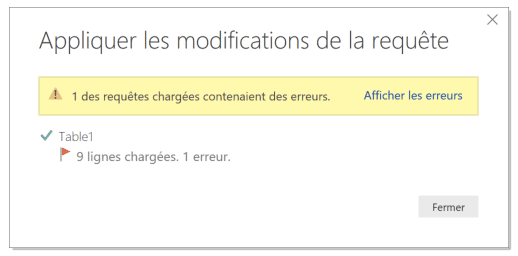 Power Query gestion erreurs