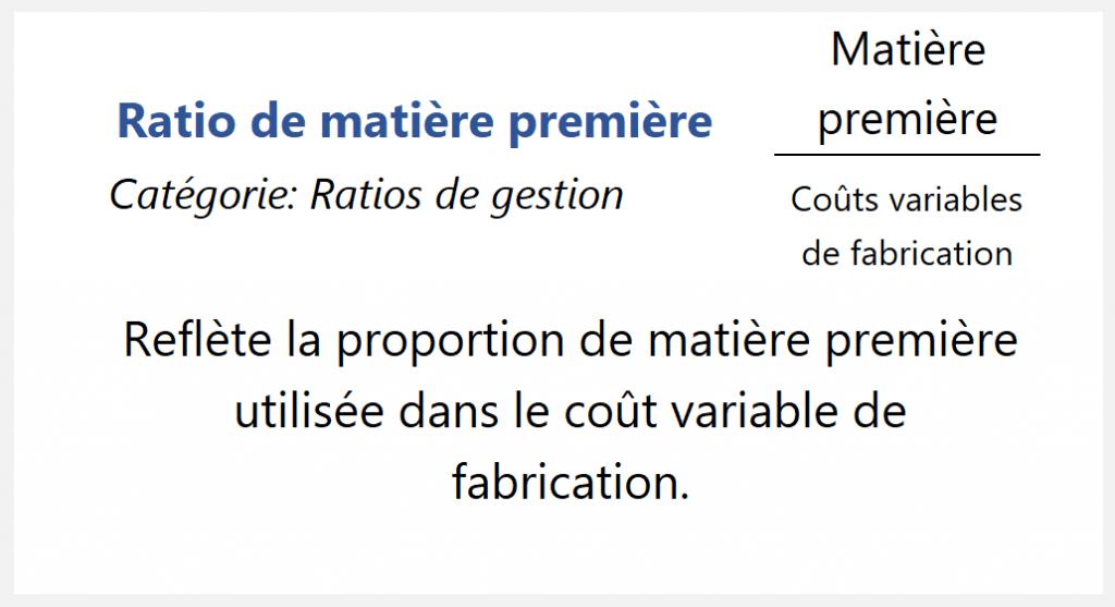 Ratio de matière première