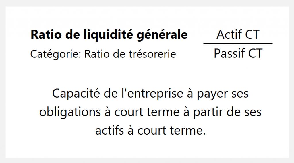 Ratio de liquidité générale