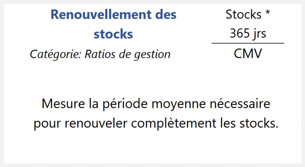 Renouvellement des stocks