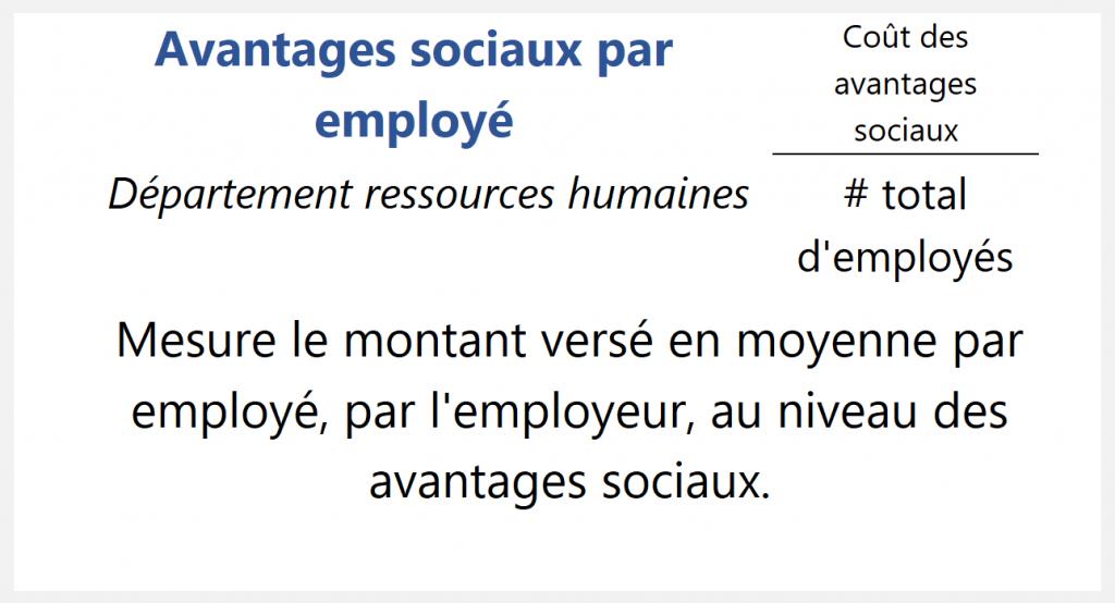 Avantages sociaux par employé