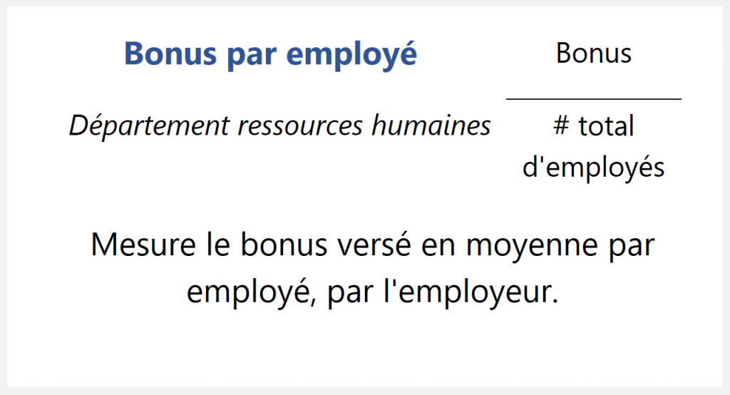 Bonus par employé