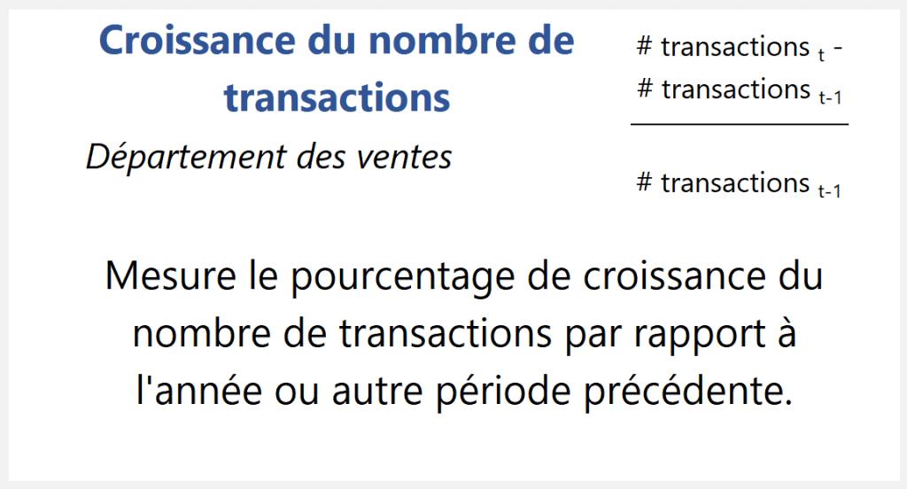 Croissance du nombre de transactions