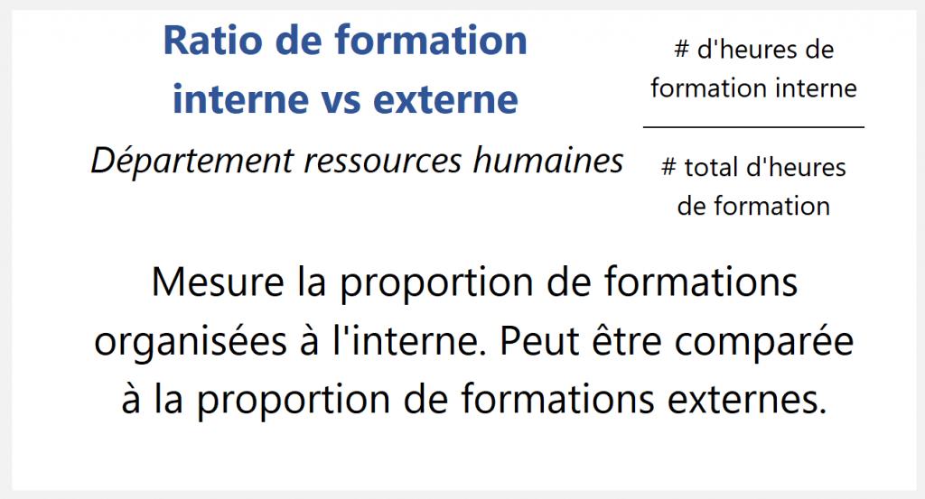 Ratio de formation interne vs externe