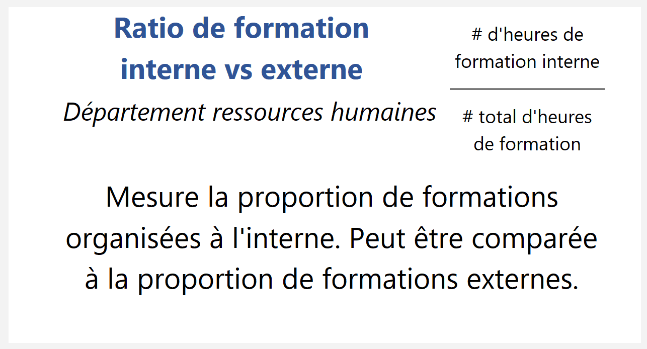 Ratio de formation interne vs externe