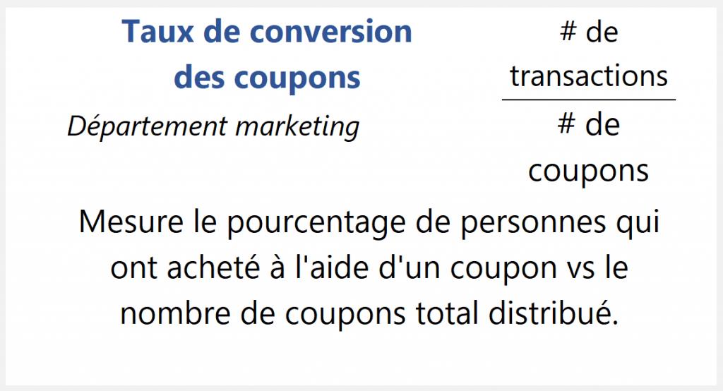 Taux de conversion des coupons