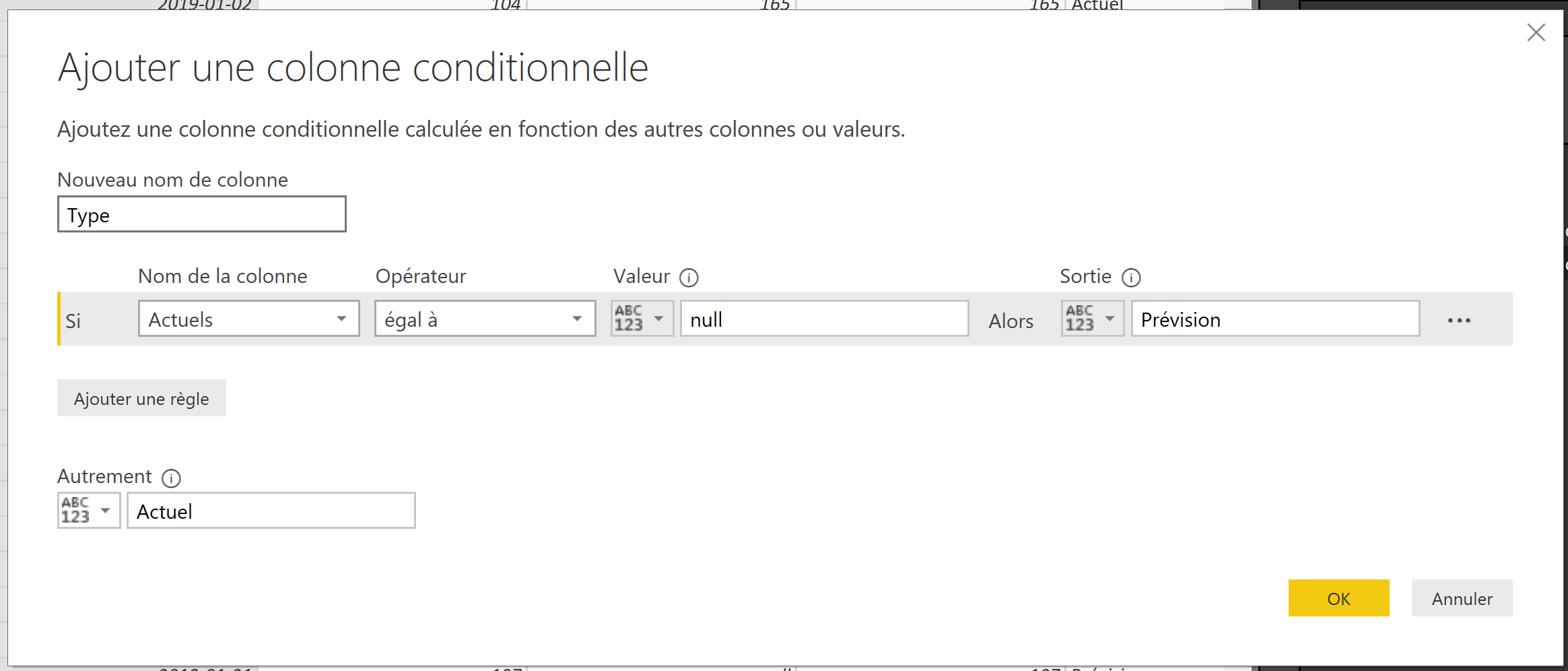 Power BI Autre colonne conditionnelle